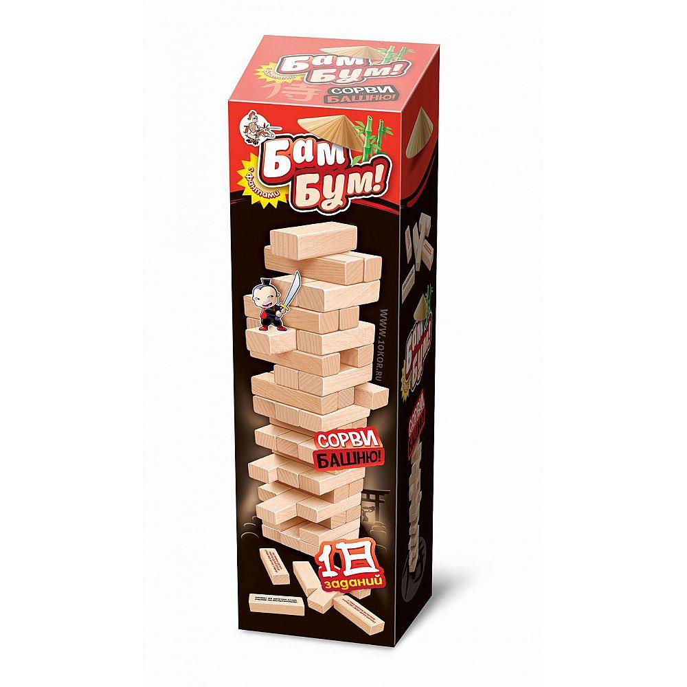Настольная игра Десятое королевство для взрослых и детей БАМ-БУМ. Падающая башня с фантами