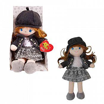 Кукла ABtoys Мягкое сердце, мягконабивная, в серой шапочке и фетровом костюме, 36 см, в открытой коробке