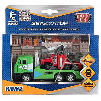 Набор машинок Технопарк Камаз эвакуатор инерционный, металлический, открываются двери 12см и Урал 7,5см.