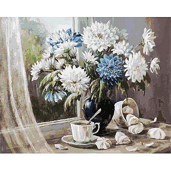 Набор для творчества Белоснежка картина по номерам на холсте Хризантемы-цветы запоздалые 40*50 см