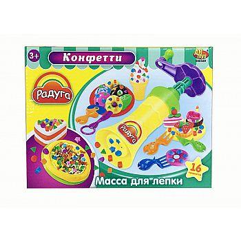 """Масса для лепки. Набор """"Конфетти"""", 4 стика массы разных цветов с тематическими аксессуарами, 16 предметов"""