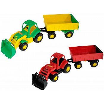 Трактор с прицепом №2 с ковшом Крепыш
