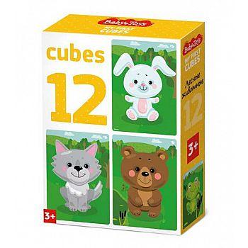 Кубики Лесные животные (без обклейки) 12 шт BABY TOYS