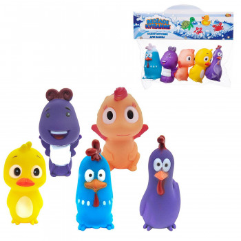Набор для ванной Abtoys Веселое купание 5 предметов (утенок, петушок голубой, петушок фиолетовый, динозаврик, бабочка)