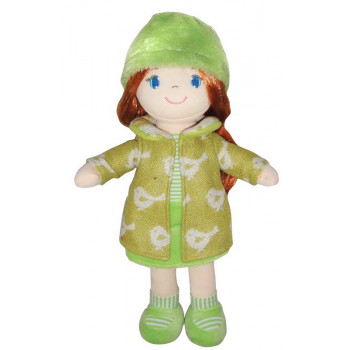 Кукла ABtoys Мягкое сердце, рыжая в зелёном пальто, мягконабивная, 36 см
