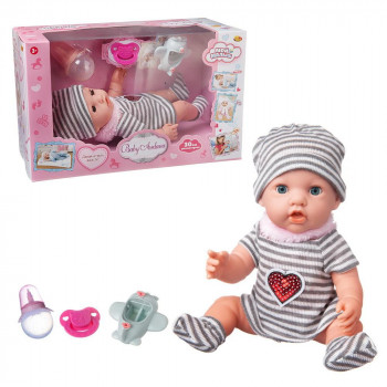 Пупс ABtoys Baby Ardana 30см, в полосатом платье, шапочке и носочках, в наборе с аксессуарами, в коробке