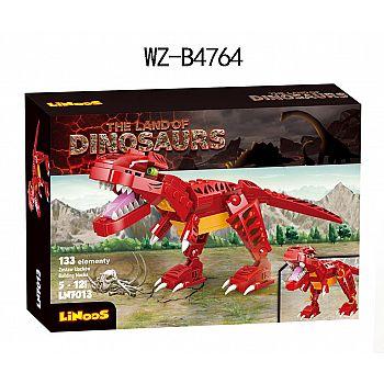 Конструктор Junfa Linoos Земля динозавров, тираннозавр красный , 133 детали.
