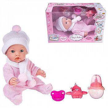 Пупс ABtoys Baby Ardana 30см, в розовом комбинезончике, шапочке и шарфике, с аксессуарами, в коробке