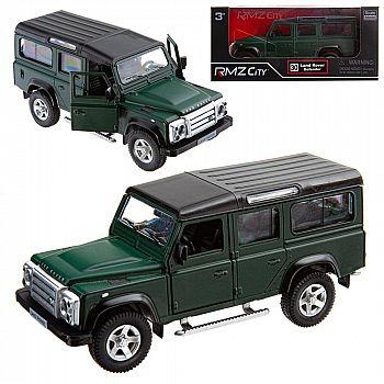 Машинка металлическая Uni-Fortune RMZ City 1:35 Land Rover Defender, инерционная, темно-зеленый матовый цвет, 16.5 x 7.5 x 7 см