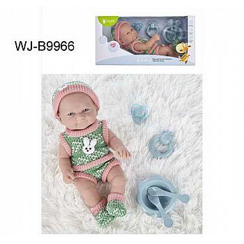 Пупс JUNFA Pure Baby 30см в зеленых кофточке, шортиках, шапочке и носочках, с аксессуарами