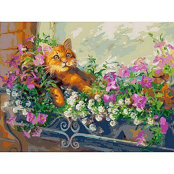 Набор для творчества Белоснежка картина по номерам на холсте Любимый кот на отдыхе 30 на 40 см