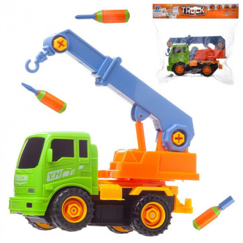 "Машинка-конструктор ""Подъемный кран"", в наборе с инструментами, в пакете, 23x17x8 см"