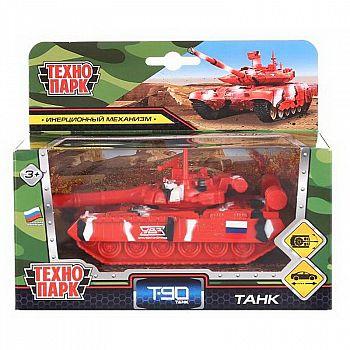 Машинка Технопарк Танк T-90 инерционный, металлический, подвижные детали 12см