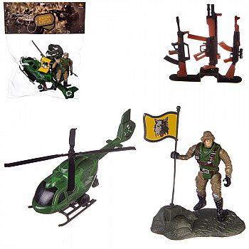 Игровой набор Abtoys Боевая сила Вертолет, фигурка солдата и другие акссесуары, в пакете