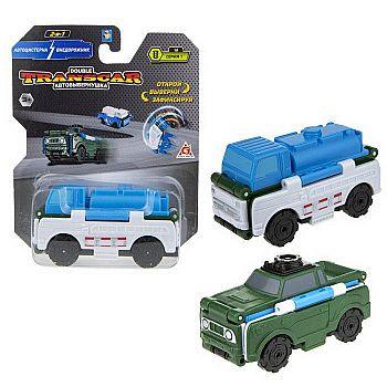 Машинка-трансформер 1TOY Transcar Double Автовывернушка Автоцистерна – Внедорожник 8 см