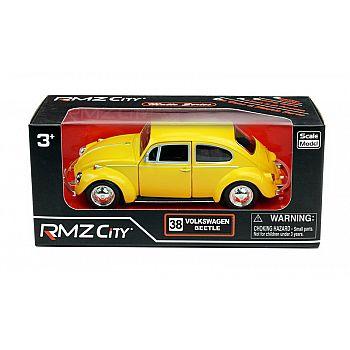 Машинка металлическая Uni-Fortune RMZ City 1:32 Volkswagen Beetle 1967, инерционная, желтый матовый цвет, 16.5 x 7.5 x 7 см