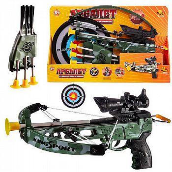 Игровой набор ABtoys Арбалет со стрелами на присосках, в наборе 3 стрелы и мишень, в коробке