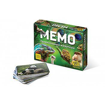 Настольная игра Нескучные игры Мемо Удивительные животные (50 карточек)