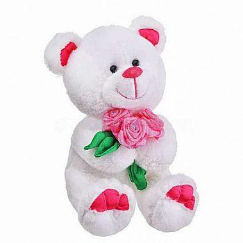 """Медведь Амурчик с букетом роз музыкальный 18 см, звук """"Букетик для тебя"""""""