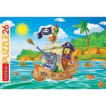 Пазл в рамке Hatber Забавные пираты 26 элементов формат А4 300х200мм