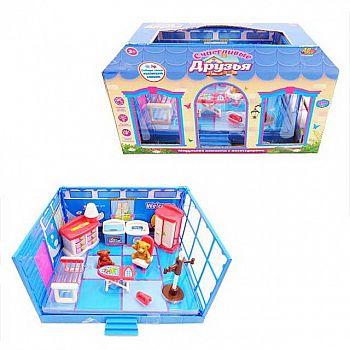 Игровой набор Abtoys Счастливые друзья Модульная комната Ванная с мебелью и фигурками животных, 13 предметов, в коробке