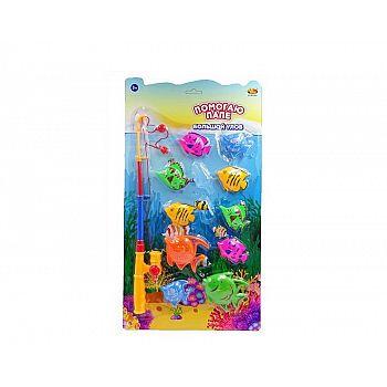 """Рыбалка """"Большой улов"""", набор с 1-й удочкой и 10-ю рыбками, на блистере"""