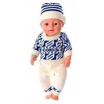 Комплект зимней одежды для кукол: вязанный костюмчик и шапочка